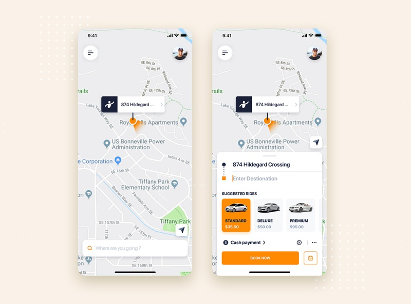 Taxi Booking mobile app concept car map view taxi booking app taxi on boading tracking camera design minimal flat material interface wireframe ux ios mobile app ui kit template theme
