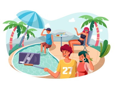 Young couple are making selfie while having fun in pool pool web design vector flat couple selfie concept interface material illustration