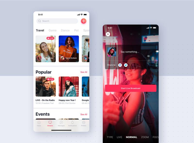 Streaming app mobile concept video broadcast events app podcast streaming app flat kit concept interface material mobile ui kit app ui