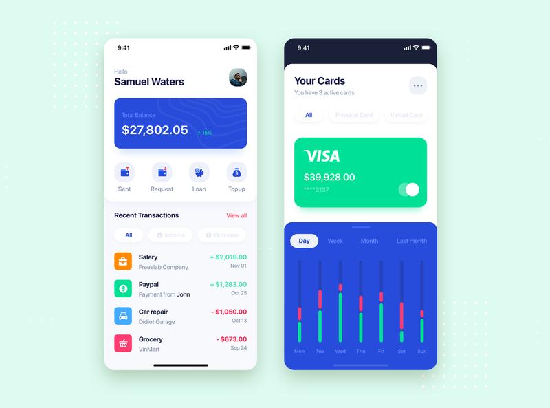 Bank mobile app concept bank app bank card banking app wallet bank flat kit concept interface material mobile illustration ui kit app ui