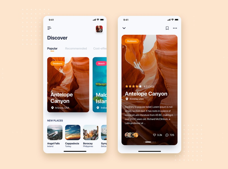 Travel mobile app concept card travel flat kit concept interface material mobile illustration ui kit app ui