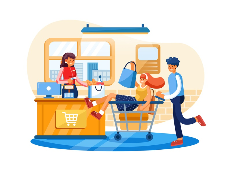 Point of sale payment system illustration payment method vector template concept interface material mobile ui kit app payment app service system pos payment illustration