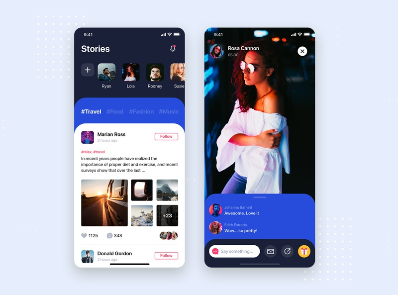 Social Network - Stories screen concept podcast live streaming social ios template kit concept interface material mobile ui kit app ui