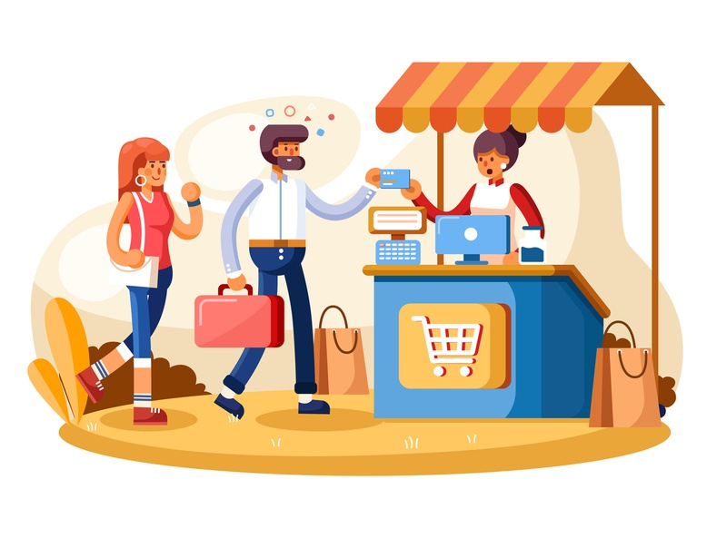 Credit card payment system concept illustration character coffee shop payment website interface design flat material vector concept system credit cards credit card payment credit card illustration