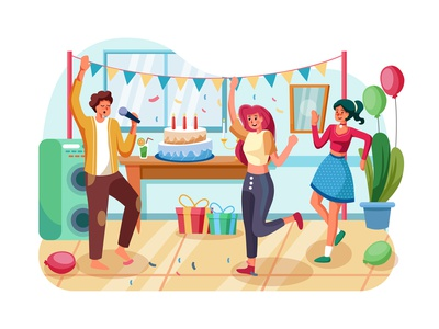 Dances on birth day party illustration concept concept interface party weekend vector together talking enjoying eating summer drink decoration dance cooking cheerful celebration holiday illustration