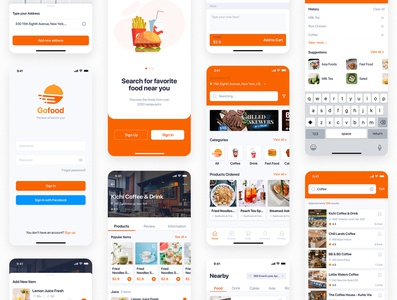 GonEats - Food Delivery UI Kit icon home graphic gps food flat fast express direction design delivery deliver courier concept carry business box banner app address