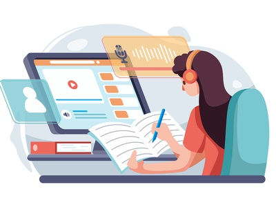 The girl learn english listening online. online learning e-book video tutorial college online learning studying study device student society teaching management courses illustration app library course template education