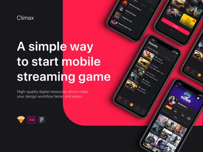 Climax - Live Game Streaming UI Kit material interface wireframe ux ios mobile app ui kit template post feed profile networking social podcast live gamer tournament streamer stream