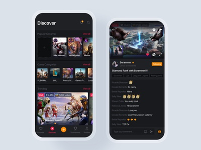 Live Game Streaming UI Kit material interface wireframe ux ios mobile app ui kit template post feed profile networking social podcast live gamer tournament streamer stream
