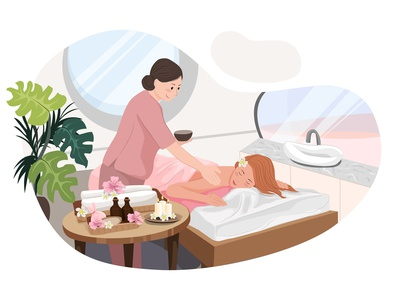 Massage Service Illustration concept adult man resort beauty relax body service massage cosmetic skin beautiful face hair nail stylist makeup salon illustration