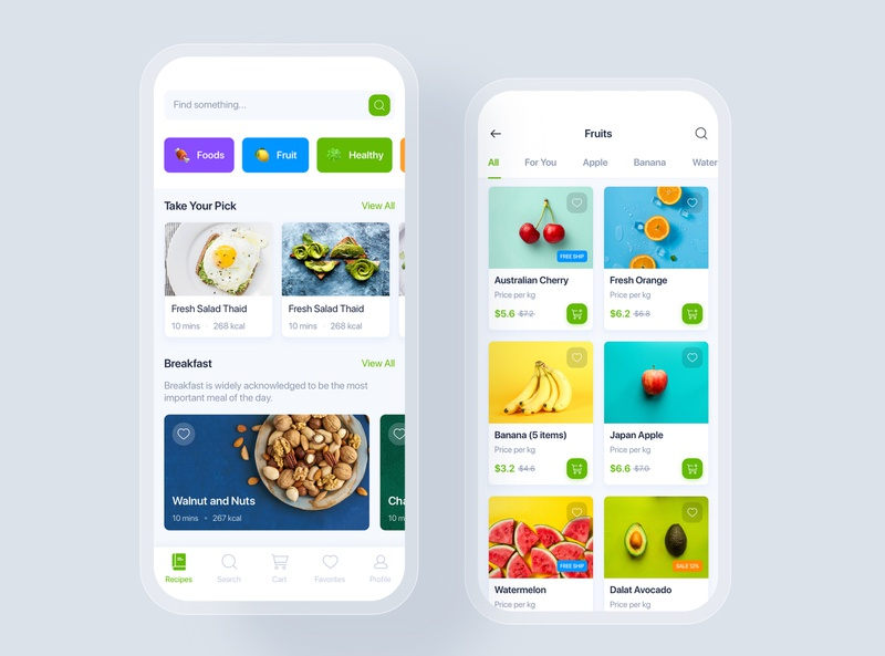 Online Grocery & Recipes mobile concept shopping market home kitchen order tracking delivery supermarket mobile ui kit material interface food app ui recipes online grocery