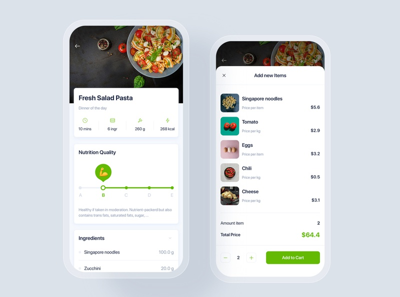 Recipes mobile UI concept shopping market home kitchen order tracking delivery supermarket mobile ui kit material interface food app ui recipes online grocery
