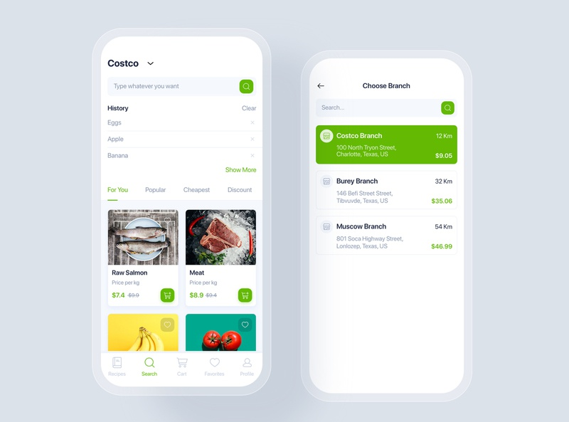 Online Grocery mobile concept shopping market home kitchen order tracking delivery supermarket mobile ui kit material interface food app ui recipes online grocery