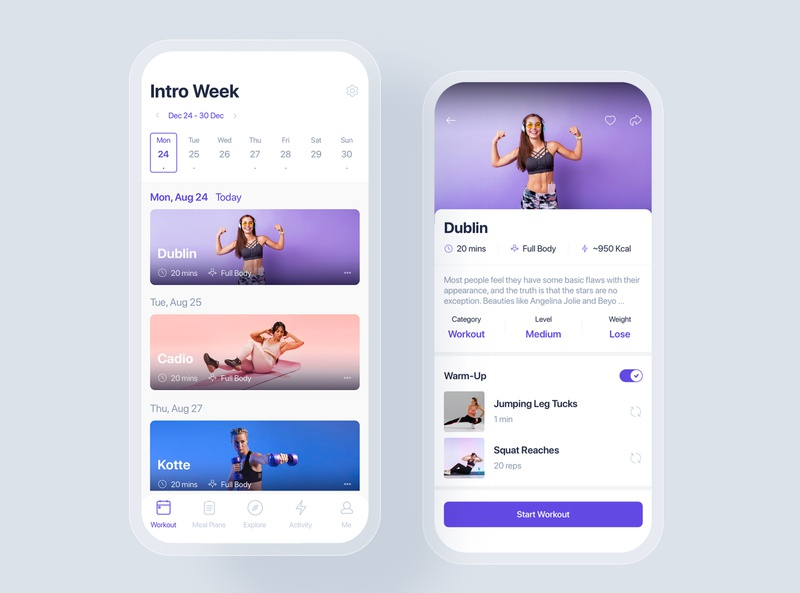 Workouts & Meal Planner mobile concept mobile ui kit ui material interface statistics app ui app healthy beauty food dietitian diet workout gym nutrition sport fitness meal planner lose weight