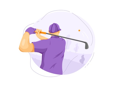 Golf flat vector illustration concept outdoor exercise active lifestyle healthy action sport activity workout biking lifestyles health practicing illustration vector