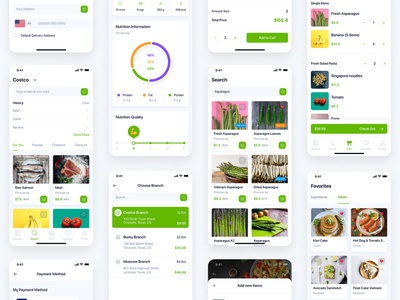 Delites - Online Grocery & Recipes UI Kit food delivery electronics ecommerce eatables agriculture booking ordering order tracking delivery supermarket mobile ui kit ui material interface food app ui recipes online grocery