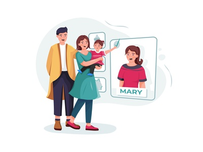 Family couple with baby choosing nanny online. drawing toys motherhood son sister daycare nursery family children sitting person character boy toy sitter toddler girl childhood vector illustration