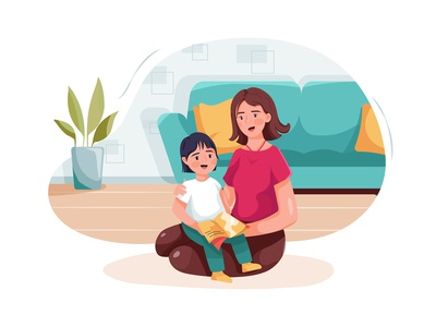 Babysitter embracing little girl reading fairy tale to kid. drawing toys motherhood son sister daycare nursery family children sitting person character boy toy sitter toddler girl childhood vector illustration