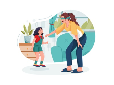 Young babysitter nanny playing funny game with kid girl at home drawing toys motherhood son sister daycare nursery family children sitting person character boy toy sitter toddler girl childhood vector illustration