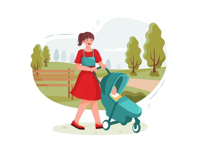 Teen nanny with cute baby in stroller playing in park drawing toys motherhood son sister daycare nursery family children sitting person character boy toy sitter toddler girl childhood vector illustration