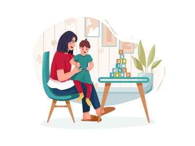 Cute little girl with young nanny at table, indoors drawing toys motherhood son sister daycare nursery family children sitting person character boy toy sitter toddler girl childhood vector illustration