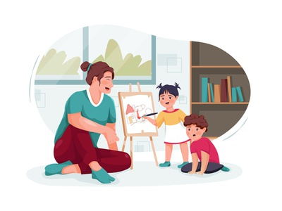 Nanny with cute little children playing and drawing at home drawing toys motherhood son sister daycare nursery family children sitting person character boy toy sitter toddler girl childhood vector illustration