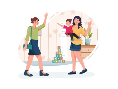 Modern stylish babysitter nanny waving farewell to busy mother drawing toys motherhood son sister daycare nursery family children sitting person character boy toy sitter toddler girl childhood vector illustration