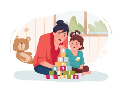 Babysitter and baby girl playing with toy cubes at home drawing toys motherhood son sister daycare nursery family children sitting person character boy toy sitter toddler girl childhood vector illustration