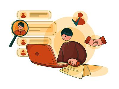 Job Interview illustration concept vector concept illustration occupation communication office business worker job interview cv vacancy hiring recruit candidate career hr illustrations