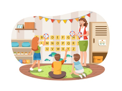 Kindergarten Illustration concept toy playroom class little cute colorful children room kid play school childhood child preschool education kindergarten activity kids drawing illustration