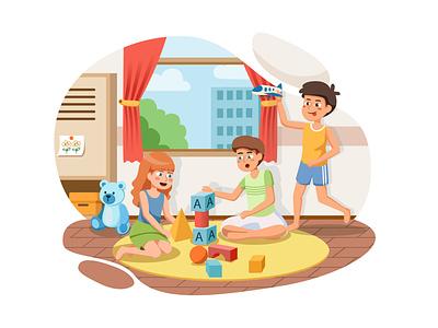 Kindergarten Illustration concept toy playroom class little cute colorful children room kid play school childhood child preschool education kindergarten activity kids drawing illustration