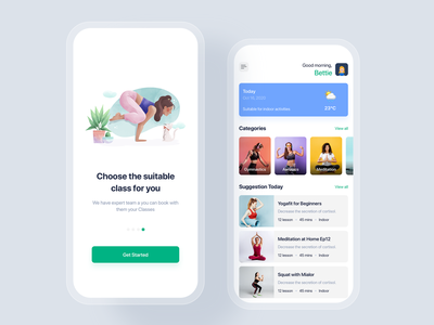 Yoga & Fitness mobile app concept gym sport trainer training fitness yoga concept template theme app mobile ui kit ux ui