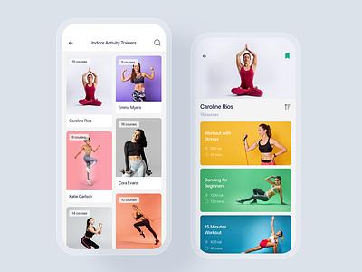Yoga & Fitness mobile app concept gym sport trainer training fitness yoga concept template theme app mobile ui kit ux ui