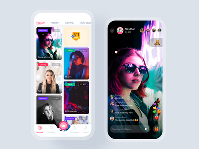 Live Streaming mobile app concept home feed video podcast live streaming stream social concept template app mobile uikit ux ui
