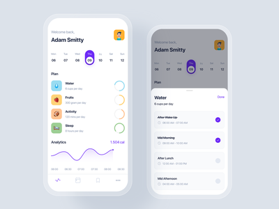 Health Track mobile app concept kit ui kit interface concept template todo list plan schedule material datetime event calendar app mobile uikit ux ui
