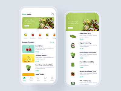 Fresh Market mobile app UI concept material ui kit interface discount sale shopping cart delivery order shopping store shop e-commerce app mobile uikit ux ui