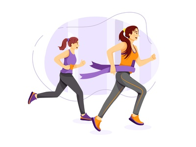 Women winning and cross finish line of marathon marathon design interface concept healthy biking practicing adult exercise workout outdoor active lifestyle action sport activity health illustration vector