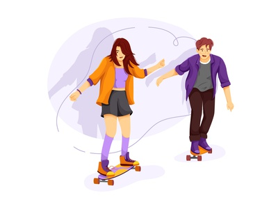 School girl and boy skate boarding at street fitness extreme people lifestyles team healthy biking practicing adult exercise workout outdoor active lifestyle action sport activity health illustration vector