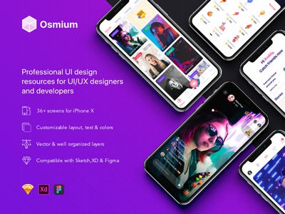 Osmium UI Kit interface resource android ui ios ui app ui mobile app ux ui ux design ui design mobile ui material ui kits app template design sketch ios mobile ui kit ui