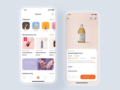 Blossom - Beauty mobile UI Kit beauty cart fashion store shopping shop order delivery parcel gui flat interface ui design mobile ui material ui kits ios mobile ui kit ui