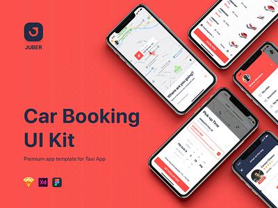 Juber Car Booking UI Kit taxi app gojek booking car app ui mobile app ux ui ux design ui design mobile ui material ui kits app template design sketch ios mobile ui kit ui