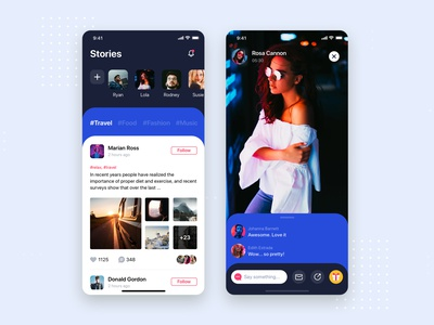 Live streaming UI mobile concept sketch ui material interface wireframe ux ios mobile app ui kit template post feed profile networking social podcast live streamer stream