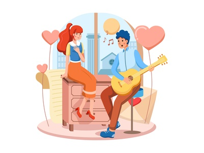 Happy Valentine's Day Scene tinder bigo match meet flirting dating romance heart love lovely beautiful romantic sweet celebrate couple in love floral happy valentines day illustration