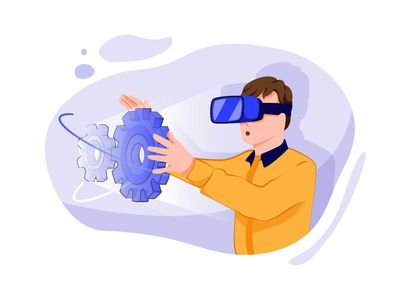 Virtual Reality Illustration concept technology headset cyberspace augmented tech innovation future futuristic augmented reality vr glasses visual intelligence illustration