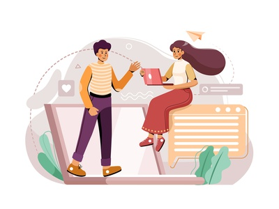 Online Meeting Illustration concept business workplace teamwork together remotely remote work illustration stay at home home freelance communication staysafe