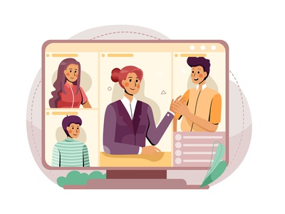Online Meeting Illustration concept remote work online meeting business workplace teamwork together remotely remote work illustration stay at home home freelance communication staysafe