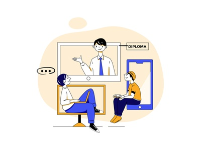Online Study Illustration college learning studying study device student classroom children kid class library course education teaching courses online online education teacher students illustration