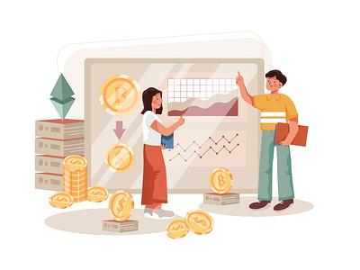 Cryptocurrency exchange Illustration concept crypto exchange