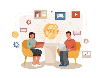 (NTF) Non Fungible Token Illustration concept exchange