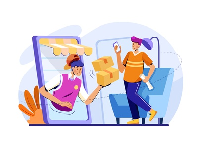 Package Delivery Service Illustration Concept smartphone